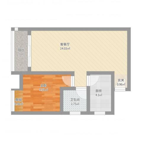 凤凰财富广场1室2厅1卫1厨64.00㎡户型图