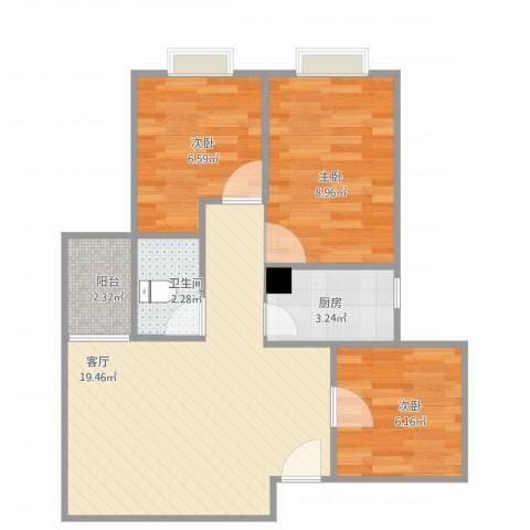 南悦花苑3室1厅1卫1厨67.00㎡户型图