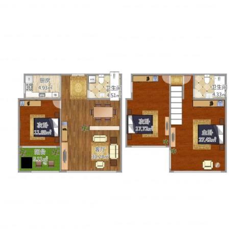 水悦城邦1-1-21093室1厅2卫1厨142.00㎡户型图