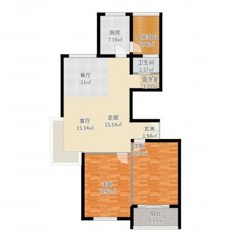 江阴外滩名门2室2厅1卫1厨144.00㎡户型图