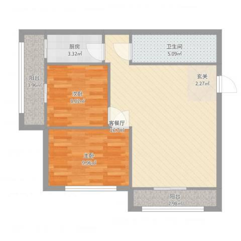 通惠家园惠民园2室2厅1卫1厨84.00㎡户型图