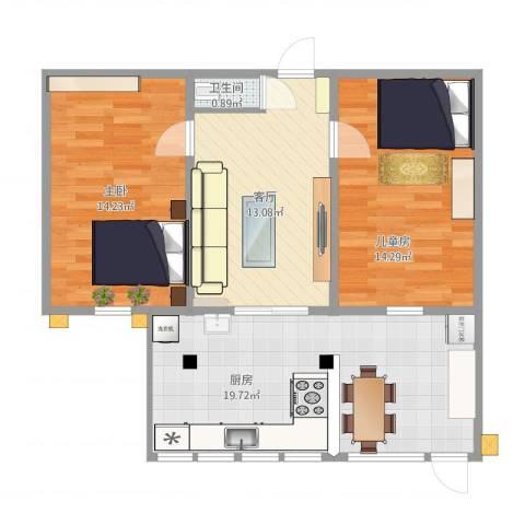 广电宿舍2室1厅1卫1厨86.00㎡户型图