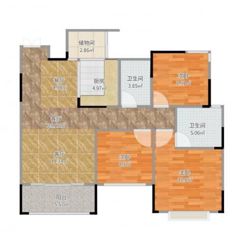 东邦城市花园3室1厅2卫1厨110.00㎡户型图