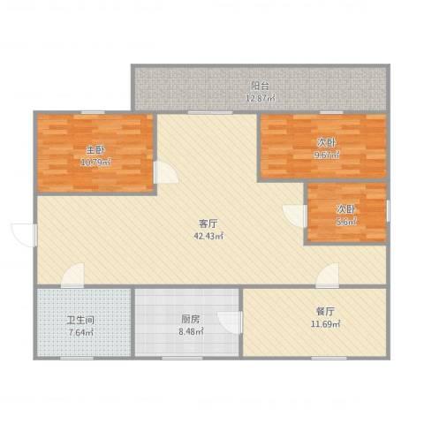 龙港花苑3室2厅1卫1厨146.00㎡户型图