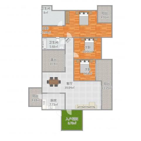融科海阔天空二期3室1厅2卫1厨206.00㎡户型图