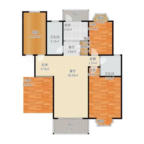金汇广场二期2室2厅2卫1厨141.00㎡户型图