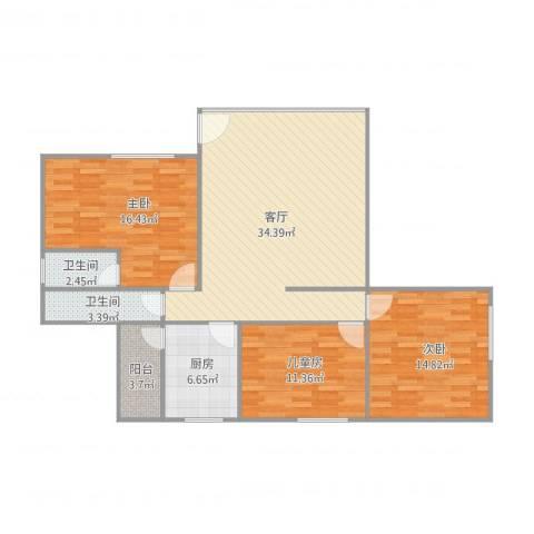 锦绣二村26座6013室1厅2卫1厨125.00㎡户型图