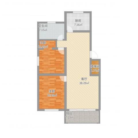 兴业时代花园2室1厅2卫1厨129.00㎡户型图