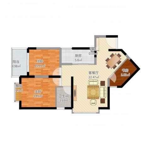 禹洲领海3室2厅2卫1厨109.00㎡户型图