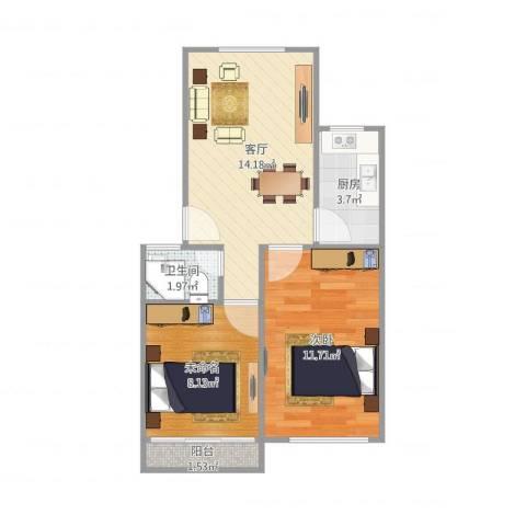 芳雅苑1室1厅1卫1厨56.00㎡户型图