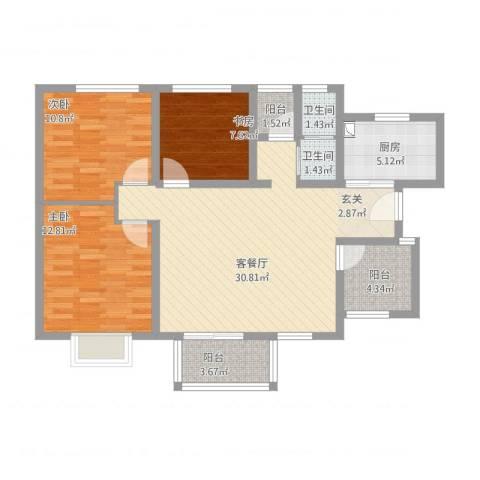 世纪之门3室2厅2卫1厨116.00㎡户型图