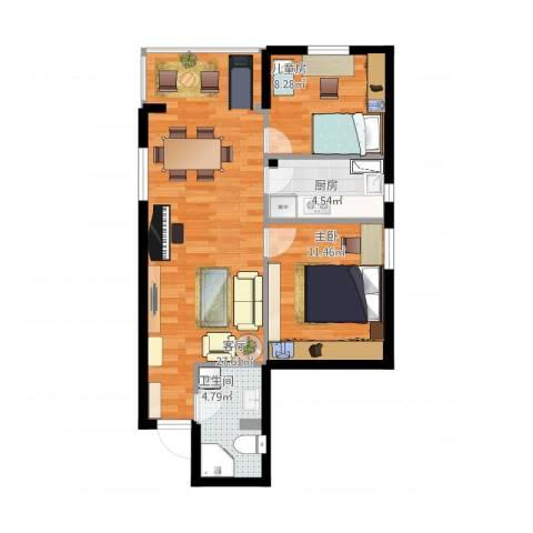 新华街五里2室1厅1卫1厨80.00㎡户型图