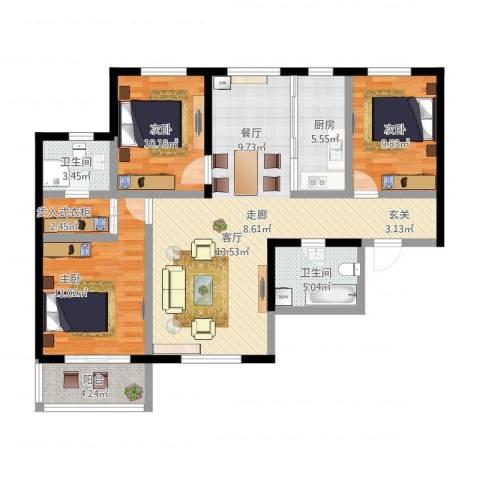 御龙湾3室2厅2卫1厨130.00㎡户型图