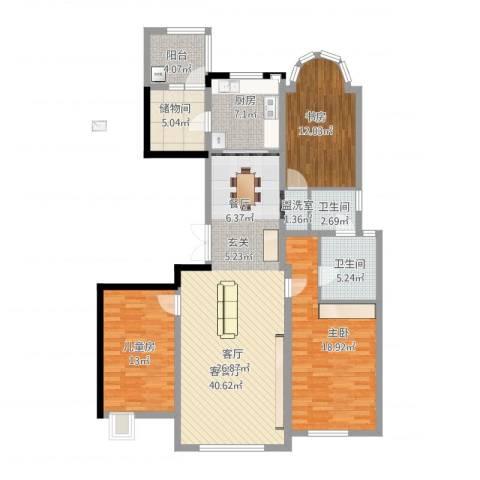 建邦华庭3室2厅2卫1厨154.00㎡户型图