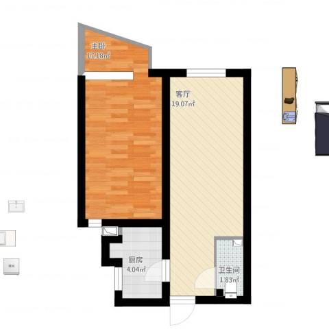 东方东路1室1厅1卫1厨62.00㎡户型图