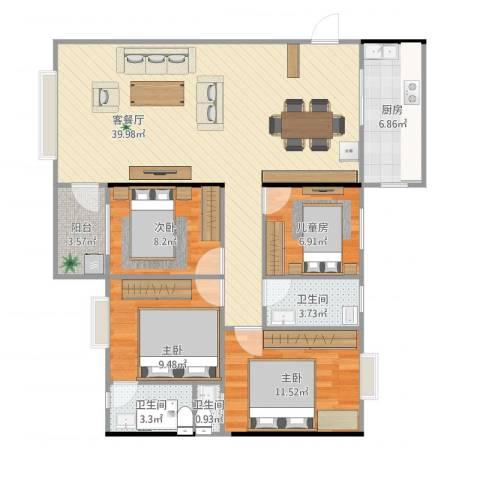 百花园4室2厅3卫1厨127.00㎡户型图