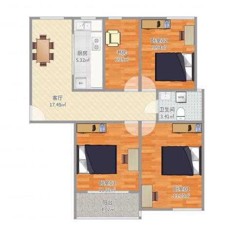 上海滩大宁城25号楼17011室1厅1卫1厨97.00㎡户型图