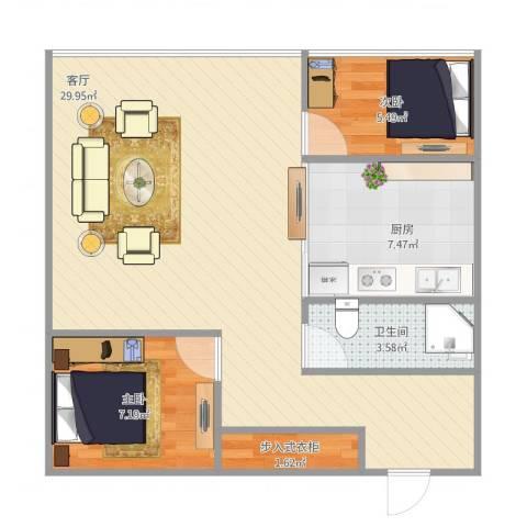 上河新城C12室1厅1卫1厨75.00㎡户型图