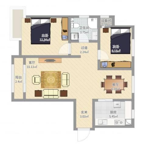 中铁国际城瑞亭风苑2室1厅1卫1厨90.00㎡户型图