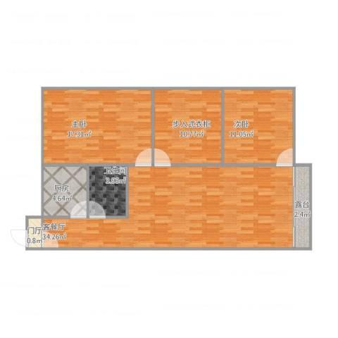 新市花园2室2厅1卫1厨114.00㎡户型图