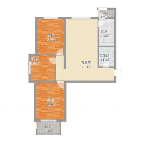 鑫鼎银河湾3室2厅1卫1厨118.00㎡户型图