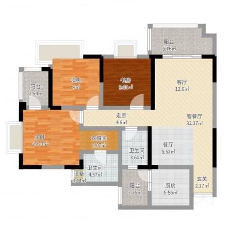 和泓南山道3室2厅2卫1厨137.00㎡户型图