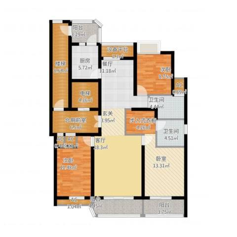 米兰公寓3室2厅2卫1厨144.00㎡户型图