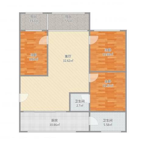 桂园小区3室1厅2卫1厨127.00㎡户型图