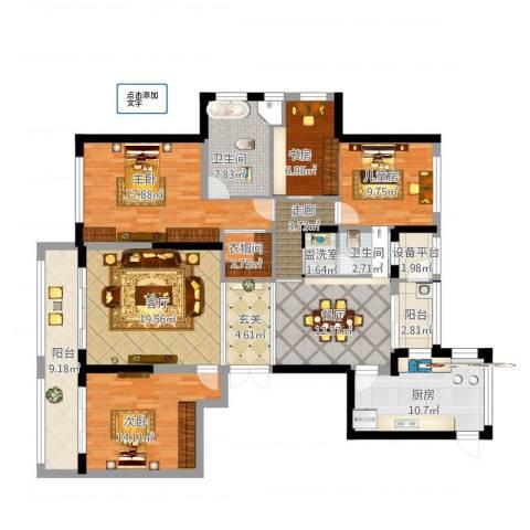 联城水岸香榭4室4厅2卫1厨189.00㎡户型图