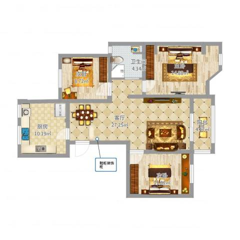滨湖御景湾3室1厅1卫1厨116.00㎡户型图