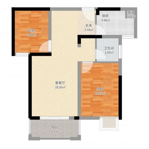 康星顿单身公寓1室2厅1卫1厨90.00㎡户型图