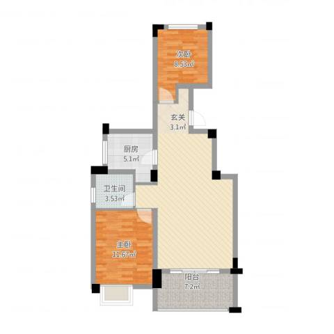 中铁滨江名邸2室2厅1卫1厨95.00㎡户型图