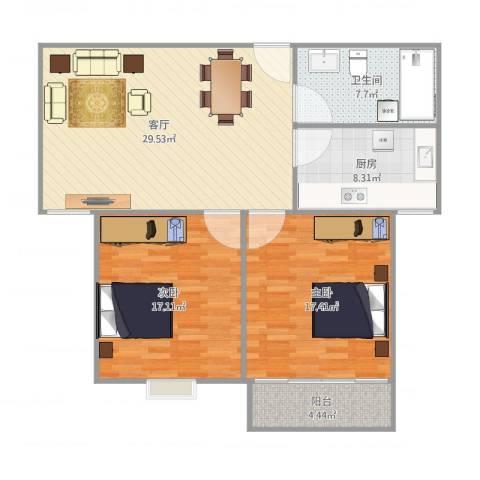 香源公寓2室1厅1卫1厨112.00㎡户型图