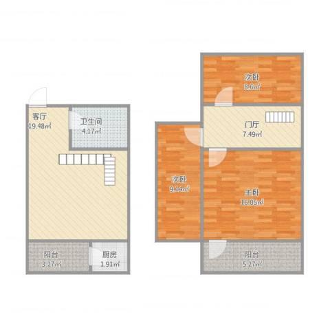 青年居易3室1厅1卫1厨102.00㎡户型图