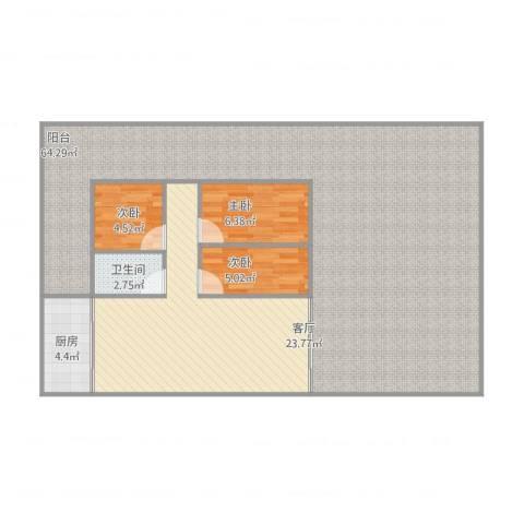 东建世纪广场3室1厅1卫1厨148.00㎡户型图