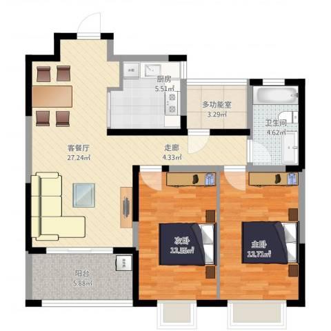 万业·观山泓郡2室2厅1卫1厨102.00㎡户型图