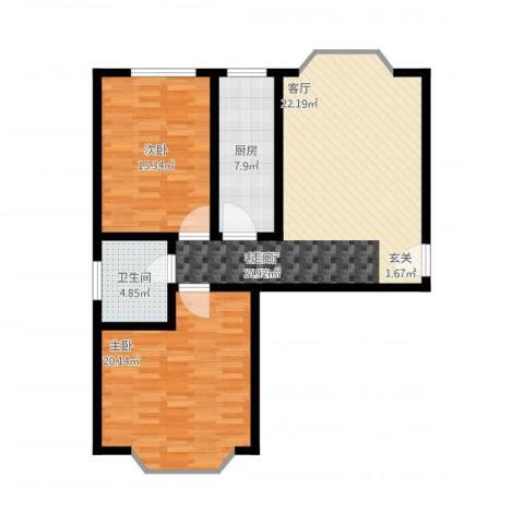 铜锣湾城市福邸2室2厅1卫1厨112.00㎡户型图