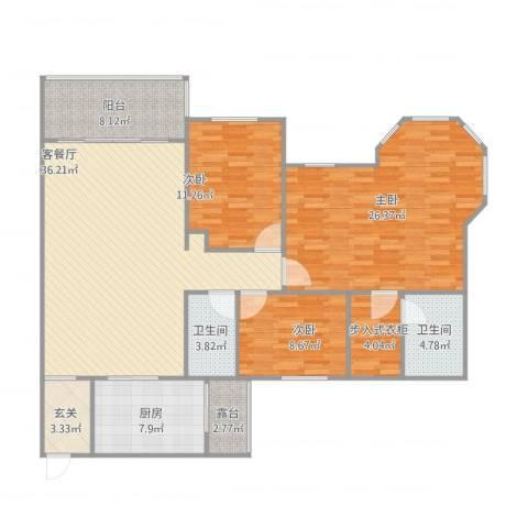 半岛碧桂园3室2厅2卫1厨157.00㎡户型图
