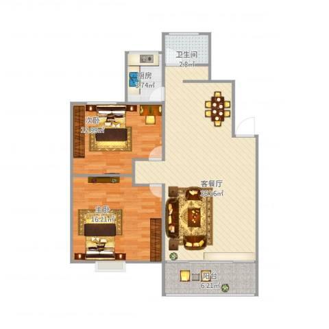 斜土路1212弄公房2室2厅1卫1厨105.00㎡户型图
