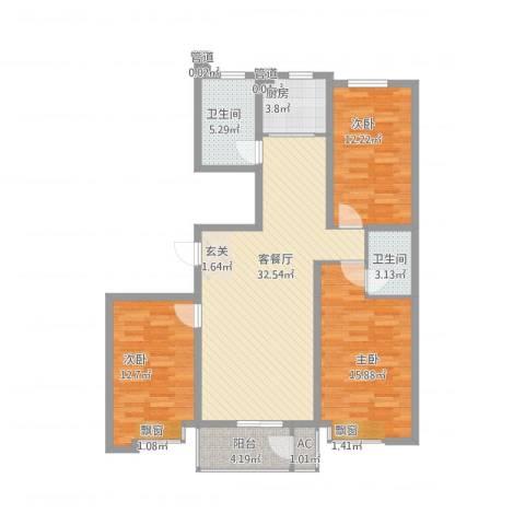 永强苑3室2厅2卫1厨129.00㎡户型图