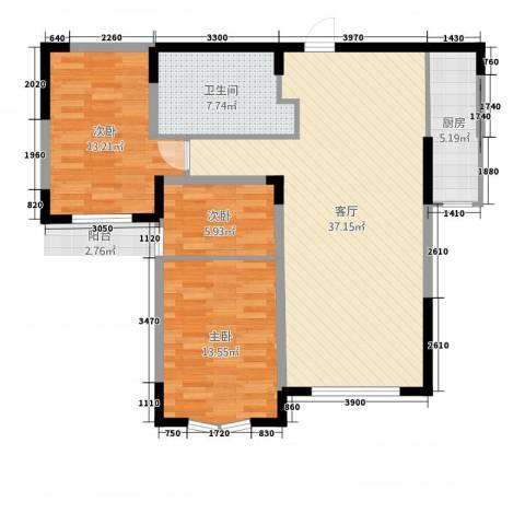 小平岛E组团3室1厅1卫1厨87.00㎡户型图
