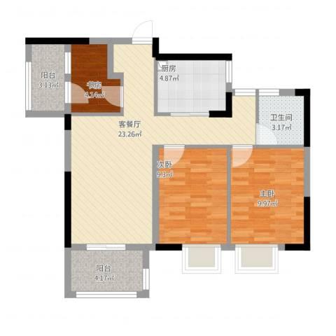 佳兆业城市广场3室2厅1卫1厨90.00㎡户型图