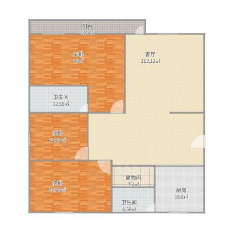 翠云苑8013室1厅2卫1厨351.00㎡户型图