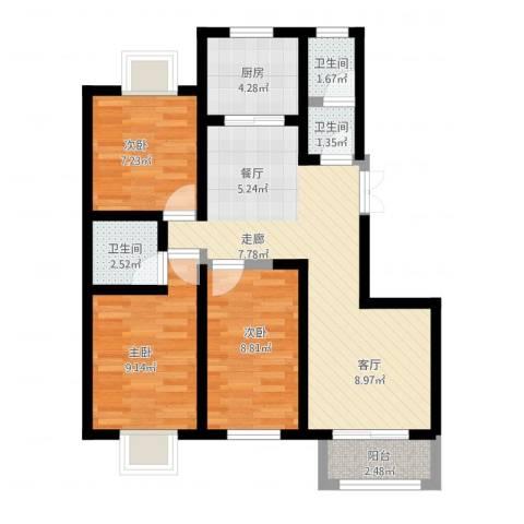 紫麟苑3室2厅3卫1厨89.00㎡户型图