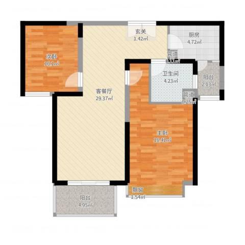 天都首郡2室2厅1卫1厨106.00㎡户型图