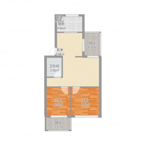绿杨新苑2室2厅1卫1厨81.00㎡户型图