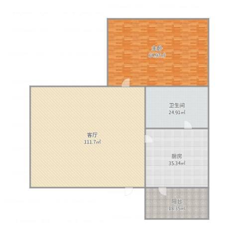 盈翠园A6-6011室1厅1卫1厨329.00㎡户型图
