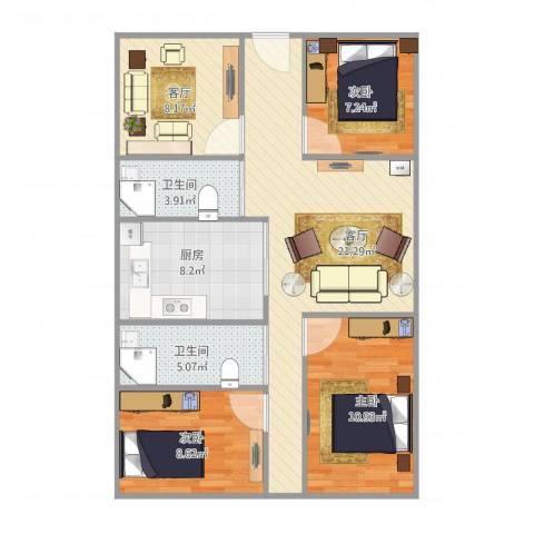 东唐苑3室2厅2卫1厨100.00㎡户型图