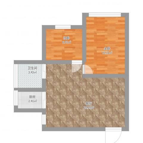 鹤北一街坊2室1厅1卫1厨77.00㎡户型图