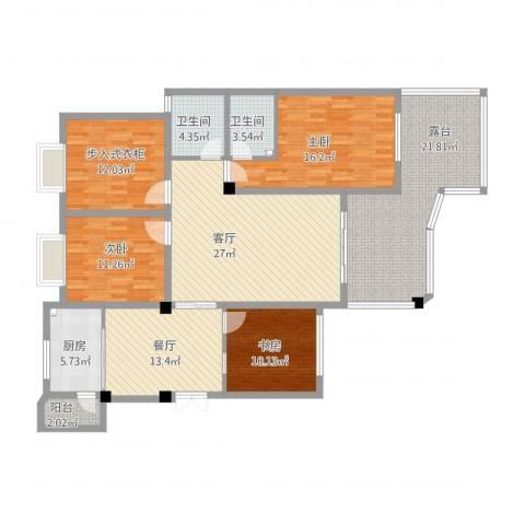 英豪永和春天3室2厅2卫1厨182.00㎡户型图